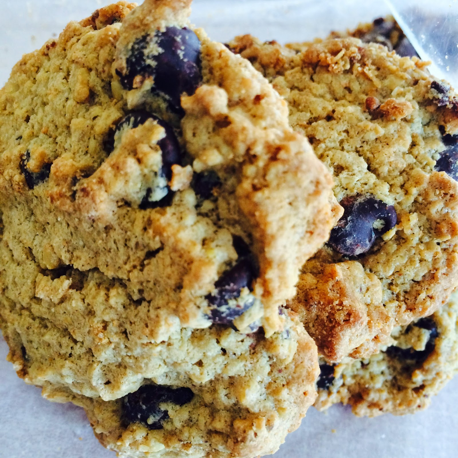 A wheat-free peanut butter oatmeal chocolate chip cookie.