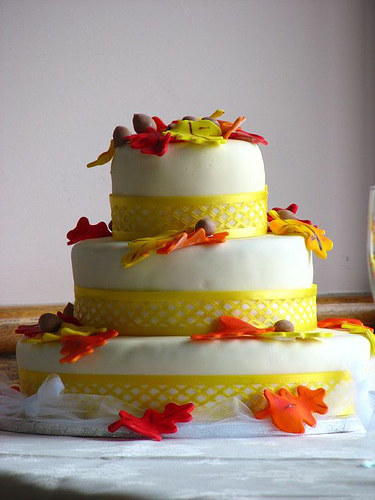 Three Tier Fall Wedding Cake To see daily pictures recipes tips and more