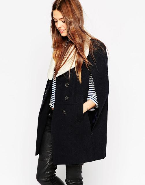black cape fur collar,