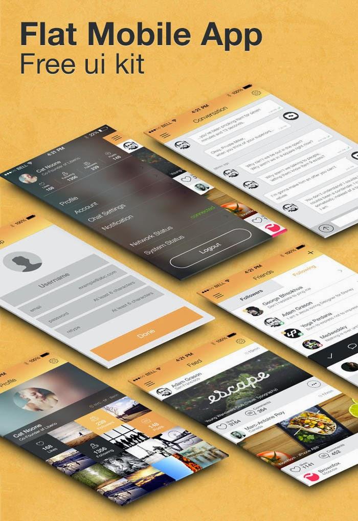 Mobile Flat App Screens UI kit PSD
