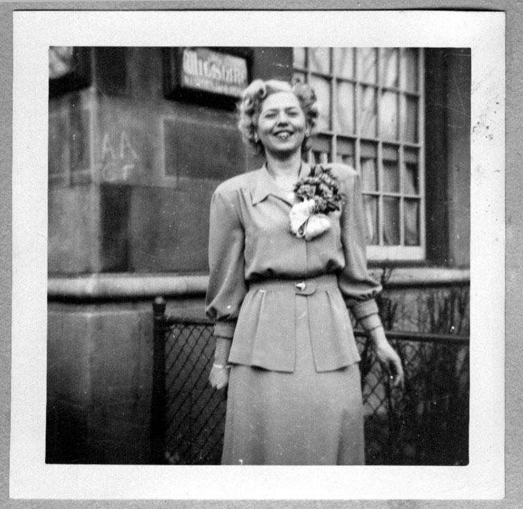 Edythe Ocker on her wedding day in November 1948