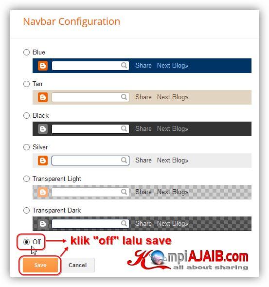Cara Mudah Nonaktifkan Navbar Blogger