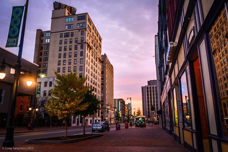 Portland, Maine USA Congress Street Autumn Morning. Photo by Corey Templeton.