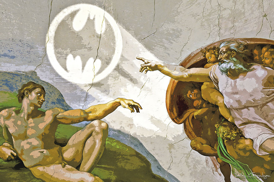 05-The-Creation-of-Adam-Michelangelo-Vartan-Garnikyan-Works-of-Art-Paintings-Batman-and-Joker-Themed-www-designstack-co