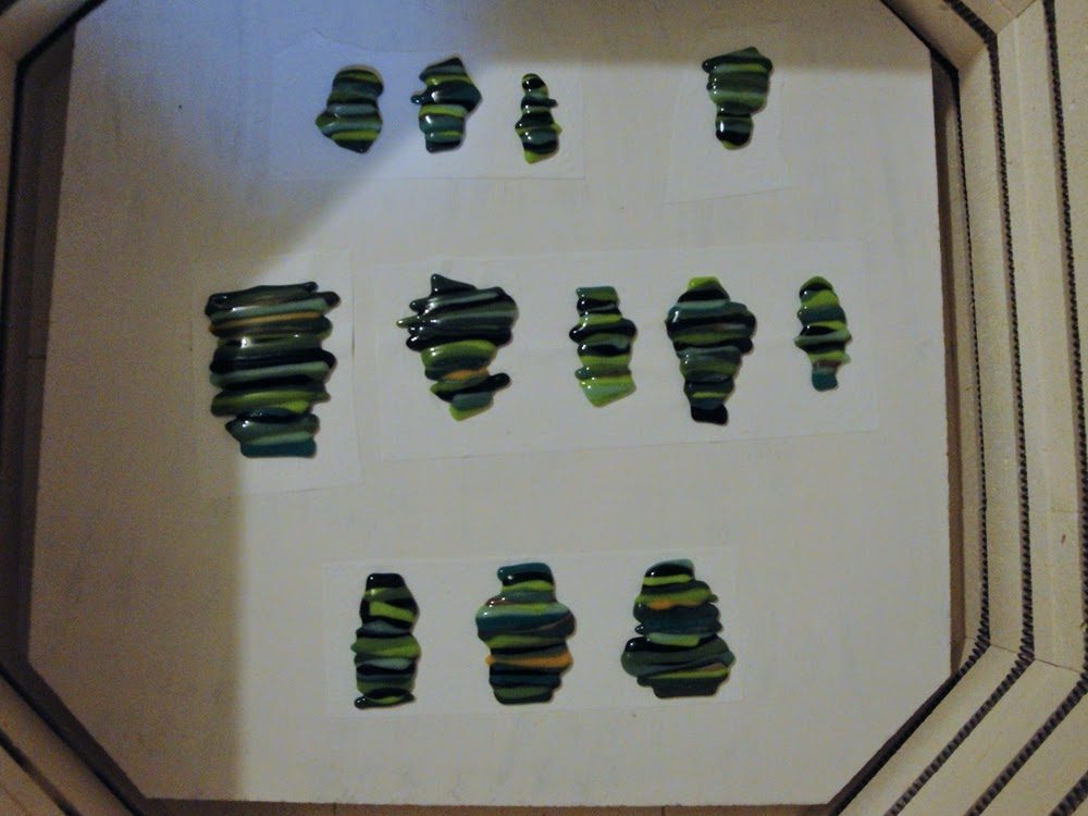 Fused Glass Tree Forest Component Green Bullseye Glass Scrap Project What to do flutterbybutterfly flutterbyfoto