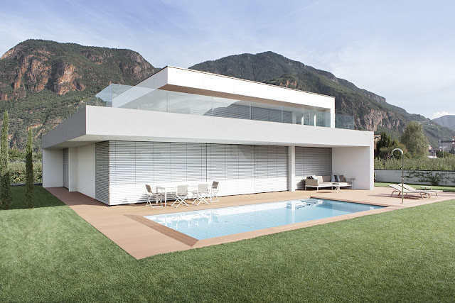 Modern home with lowered blinds