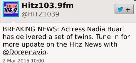 Nadia Buari gives birth to twins
