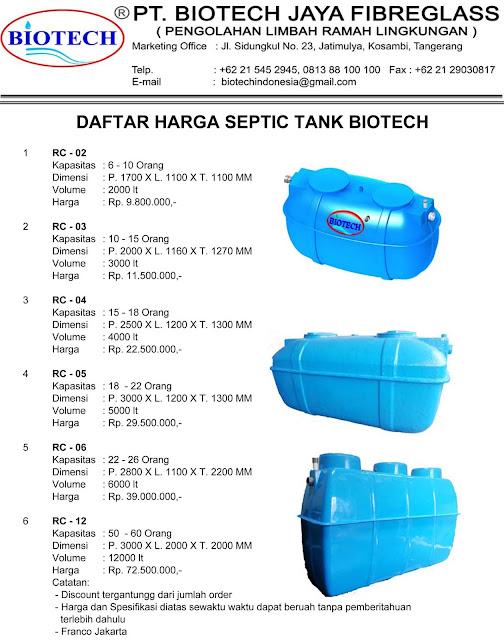 daftar harga septic tank biotech rc series