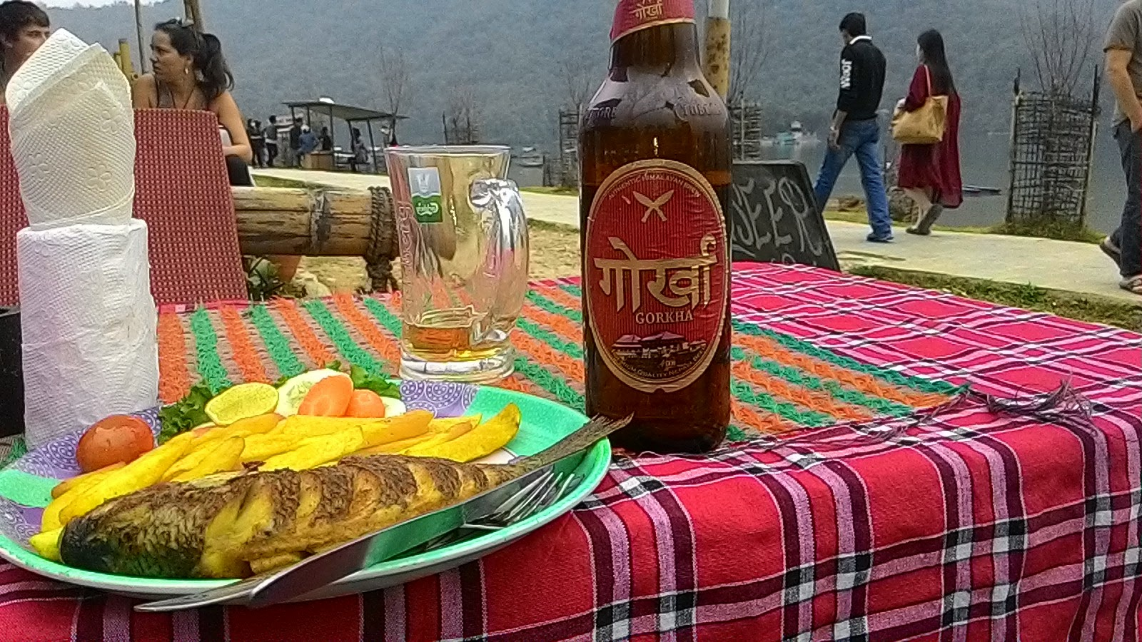 Tilapia fish and gokhra beer near phewa lake, pokhra