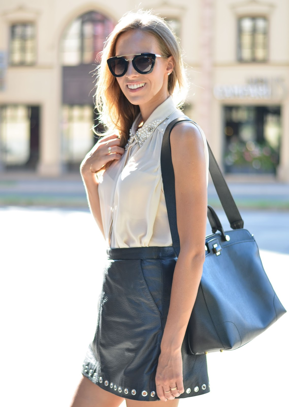 kristjaana mere hm leather skirt furla bag prada sunglasses outfit