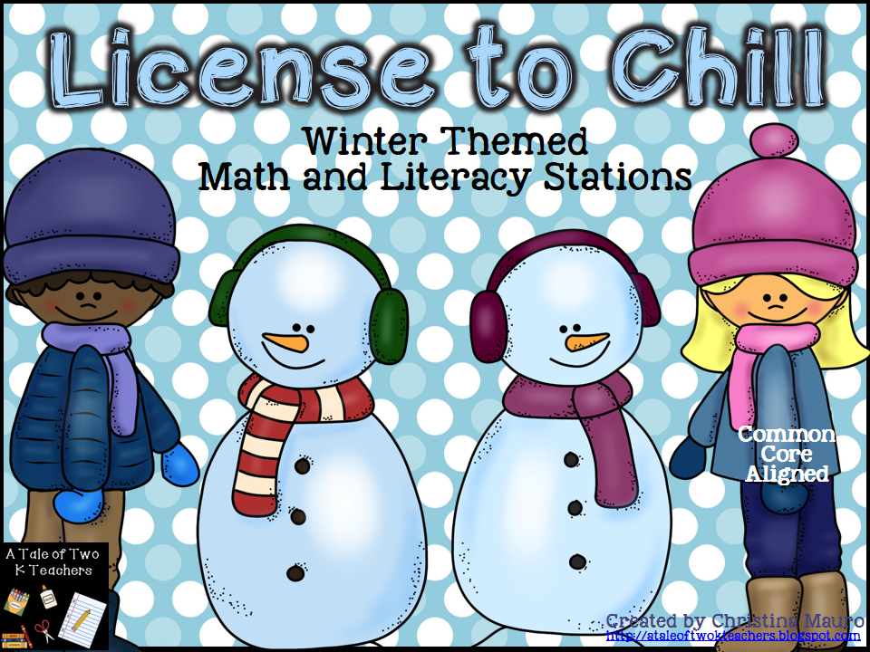 http://www.teacherspayteachers.com/Product/License-to-Chill-Winter-Math-Literacy-Stations-993049