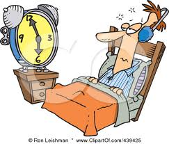 Cartoon of a big eyed sleepy man laying in bed endlessly watching a clock as he cannot fall asleep