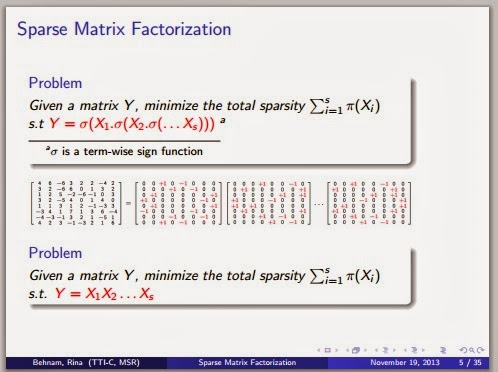 sparse matrix factorization 1311 Sparse matrix factorization problems, ie, to infer a low-rank matrix that can be   landmark applications of sparse matrix factorization are sparse principal com.