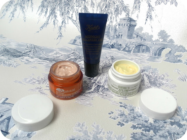 A picture of Origins GinZing Eye Cream, Kiehl's Midnight Recovery Eye Cream and Kiehl's Creamy Eye Treatment with Avocado