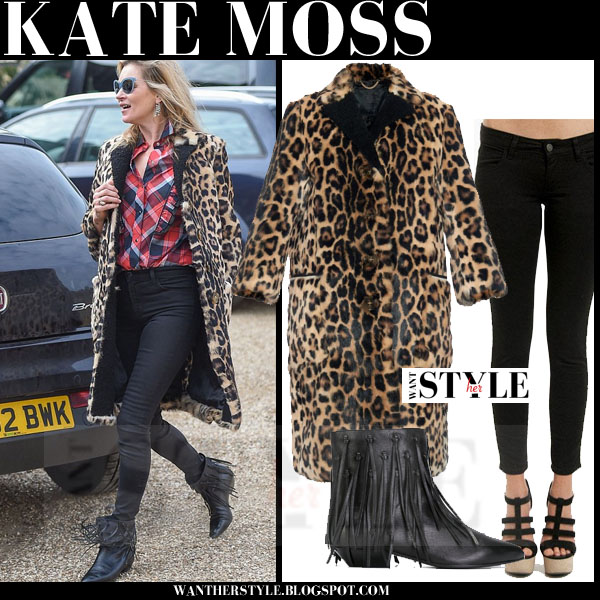 Kate Moss in leopard print Burberry coat, black skinny Siwy jeans and fringed saint laurent ankle boots what she wore models off duty
