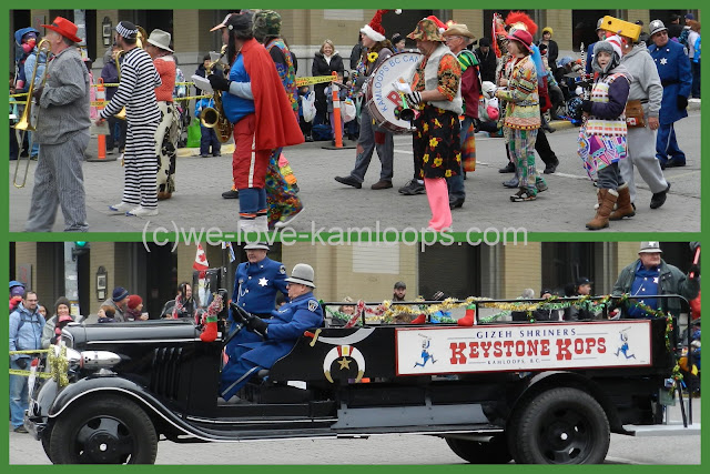 The band dress up in costumes to entertain and the Keystone kops ride their firetruck