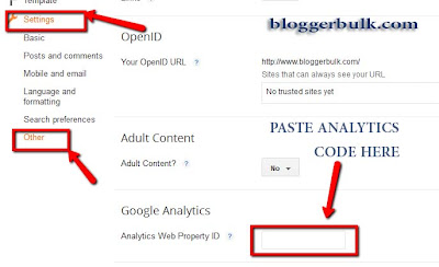Custom setting for google analytics in blogger