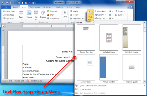 Text box drop-down menu of MS Word