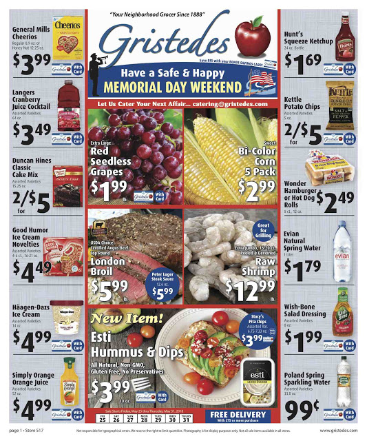 CHECK OUT ROOSEVELT ISLAND GRISTEDES Products, SALES & SPECIALS For May 25 - May 31