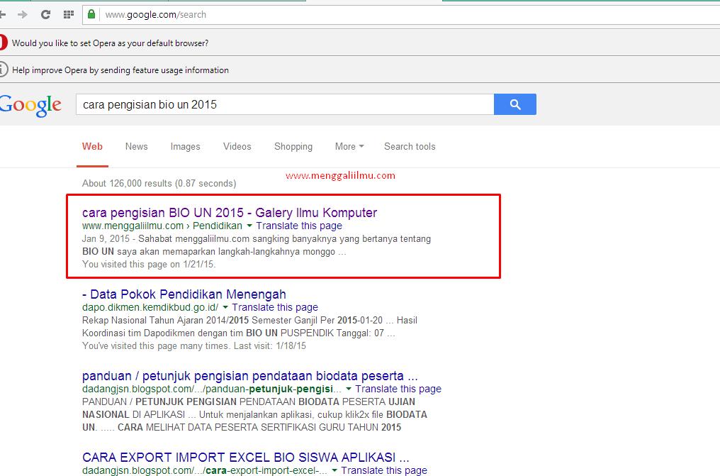 ranking 1 di mbah google