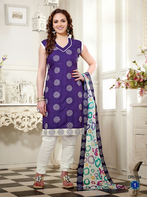 Esha Deol Exclusive Indo Cotton Churidar Style Dress Material