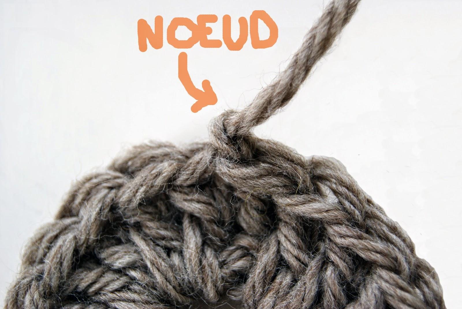 noeud à la fin d'un ouvrage de crochet ou de tricot