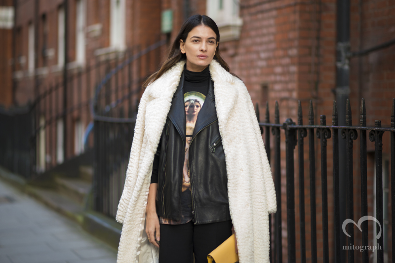Fashion Director Leila Yavari wears Givenchy Tshirt at JWAnderson 2014 Fall Winter show at London Fashion Week LFW