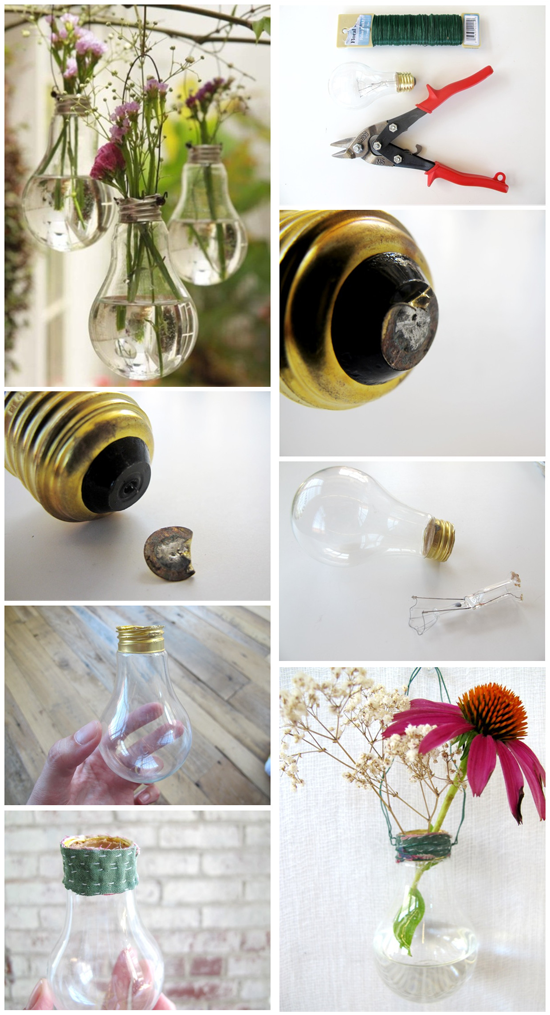 Re-use broken glass bulbs to make sweet little vases!