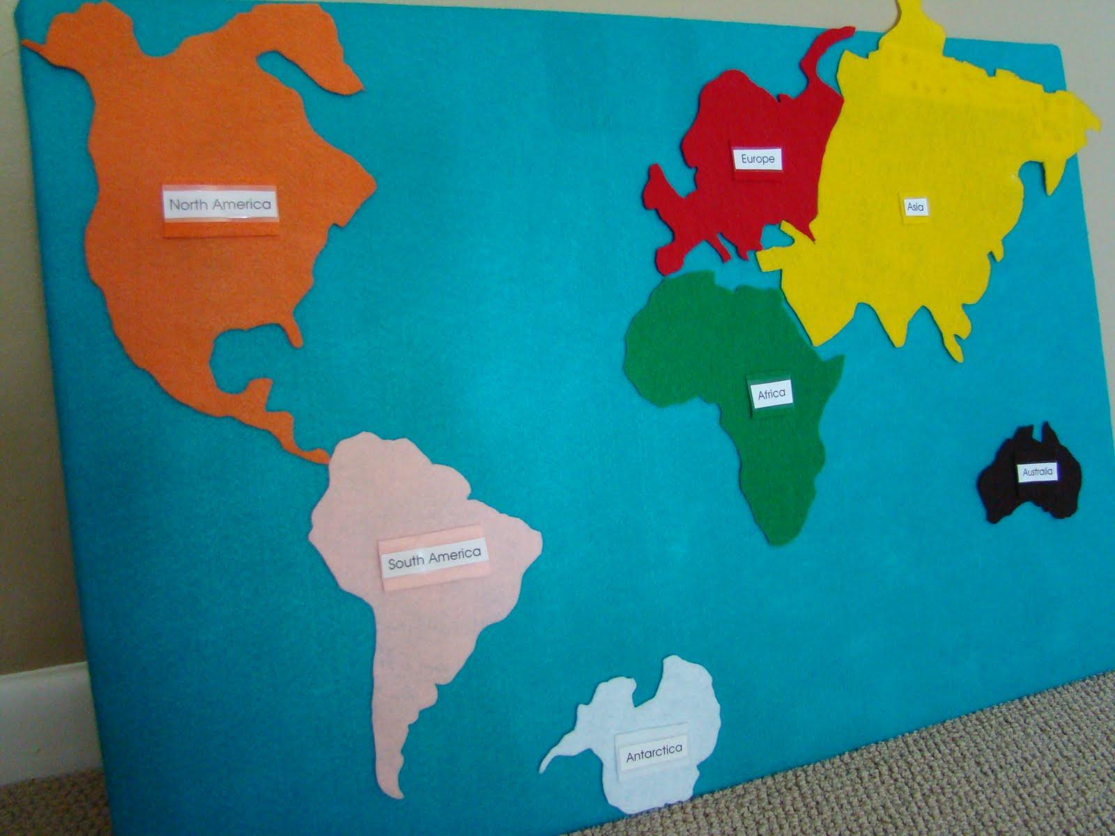 Raccoon school felt continent map felt continent map gumiabroncs Choice Image