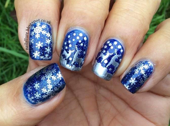 Reindeer & Snowflakes Xmas Nails.