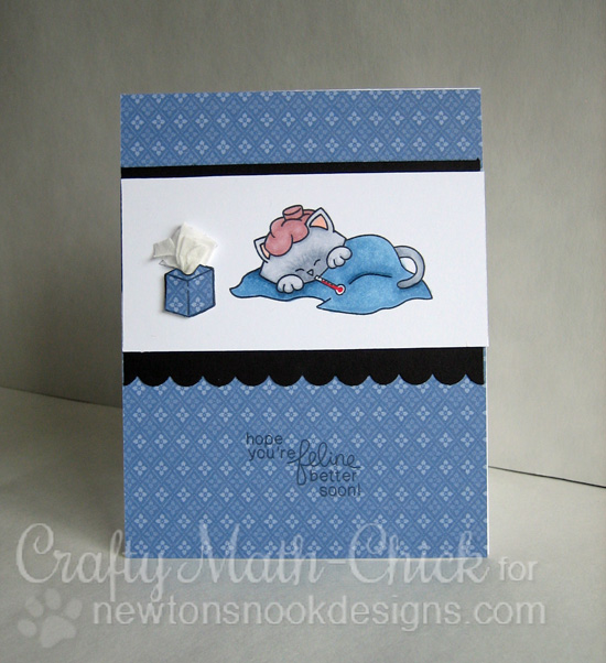 Get Well Cat card by Crafty Math-Chick | Newton's Sick Day Stamp set by Newton's Nook Designs