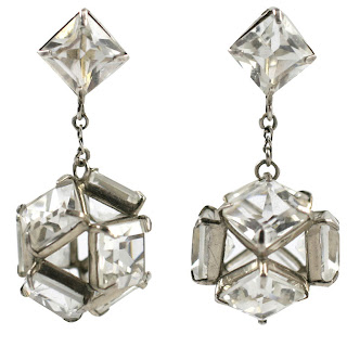 Vintage 1920's art deco style crystal chandelier earrings.