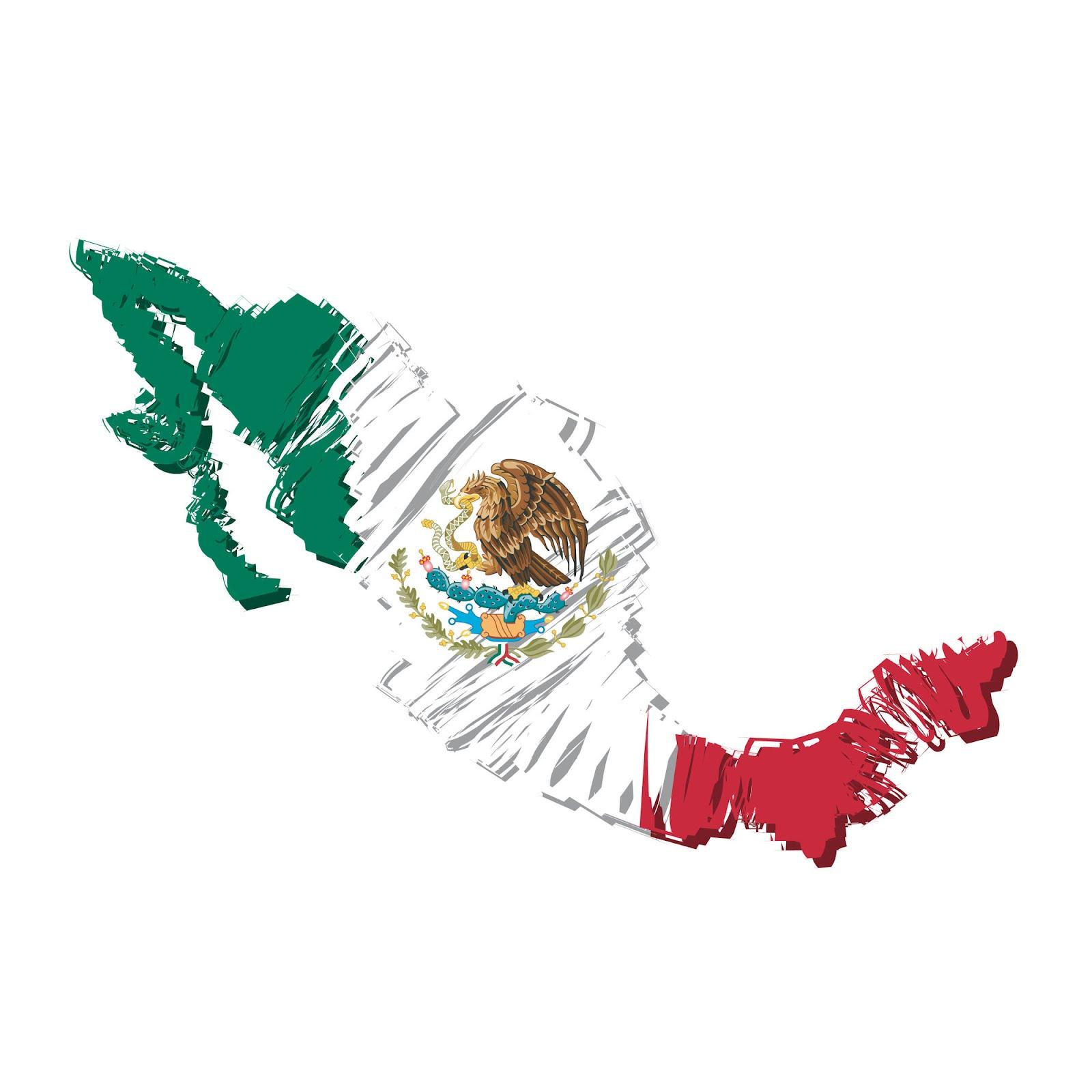 Mapa de México con Bandera Mexicana - Símbolos Patrios - 16 de