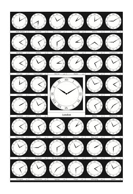 poster of numerous clock faces with times around the world