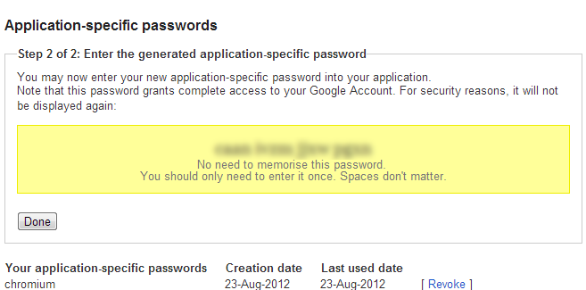 Generated Application specific Password for Google Account