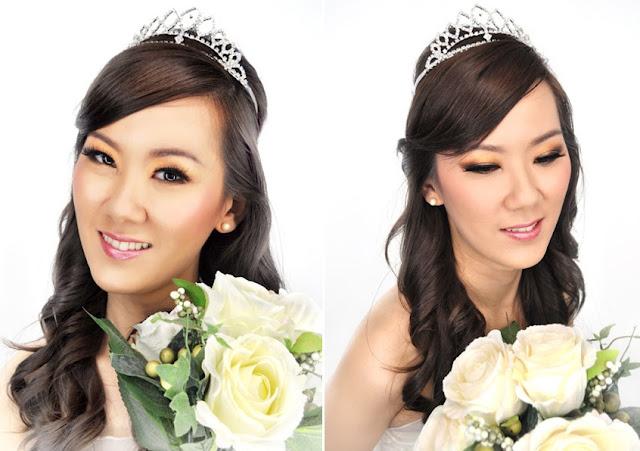 tiara, sleek makeup, smooth complexion