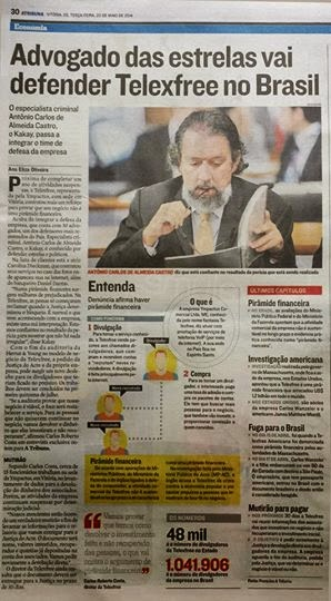Advogado das estrelas vai defender Telexfree no Brasil