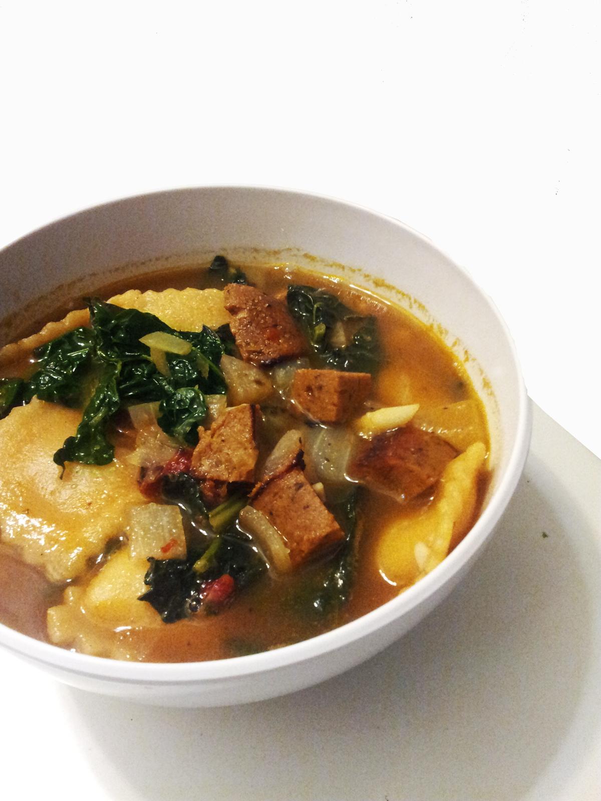 Profound Hatred of Meat: Kale, Sausage & Ravioli Soup