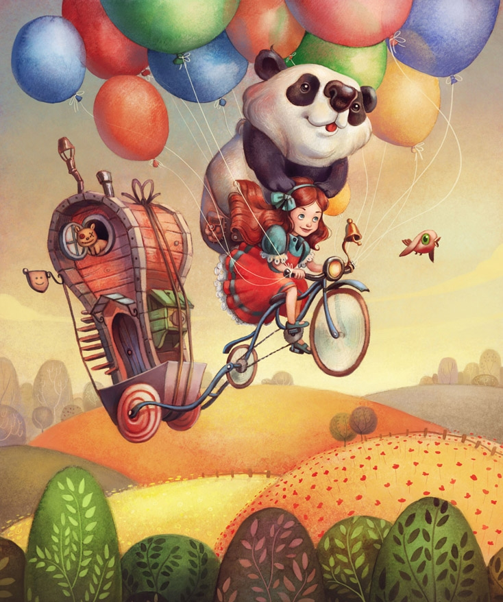 Panda Holds Onto Girl Flying Balloon-Lifted Bicycle