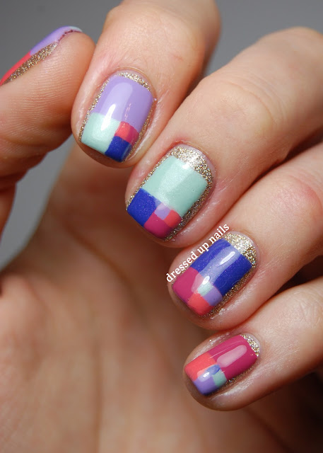 Dressed Up Nails - golden ratio color block pastel nail art
