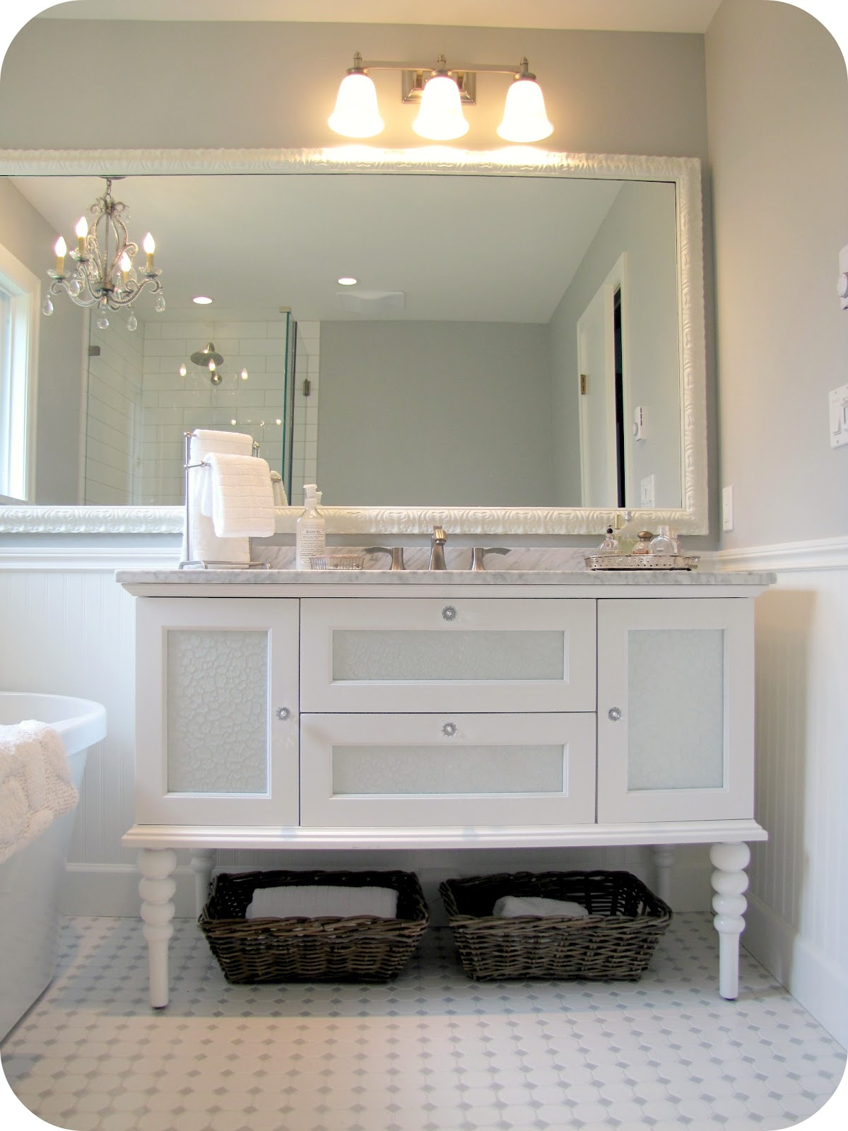 my house of giggles white and grey bathroom renovation makeover carrera marble hex tile etc