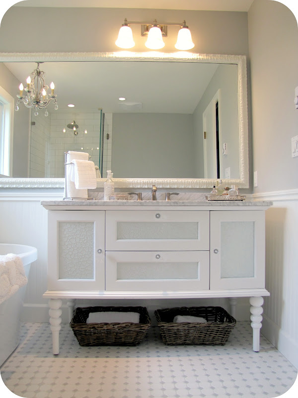 White and Grey Bathroom Renovation/Makeover (Carrera Marble, Hex Tile  title=