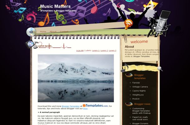 Free Music Blog Vector Blogger Layout Template