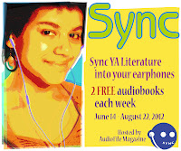 teen girl with earbuds listening to SYNC free YA audiobooks