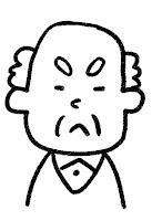 ■の表情のイラスト(怒り)白黒線画