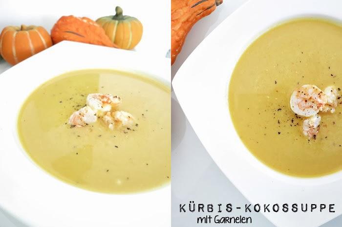 Kürbis-Kokos Suppe mit Garnelen