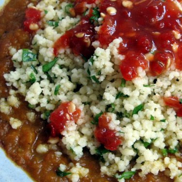 carrot-pinto soup with herbed couscous