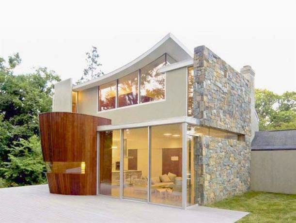 Fasad Lantai 2 Konsep Mewah Dengan Texture Berbatuan Dan Full Kaca