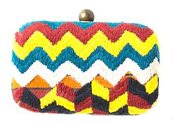 anthropolgie crunched stripes woven clutch