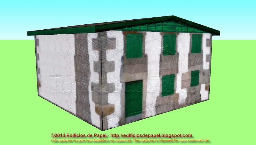 Small country house paper model with green windows
